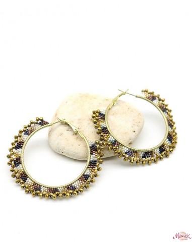 Créoles colorées en perles - Mosaik bijoux indiens