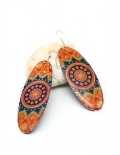 Boucles d'oreilles fantaisie orange - Mosaik bijoux indiens