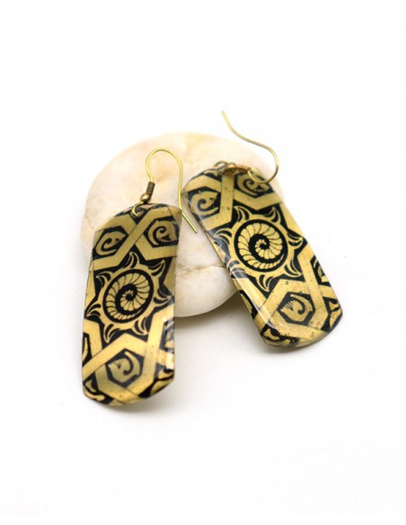 Boucles d'oreilles fantaisie dessinées noires et dorées -Mosaik bijoux indiens