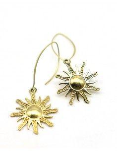 Boucles d'oreilles soleil dorées - Mosaik bijoux indiens