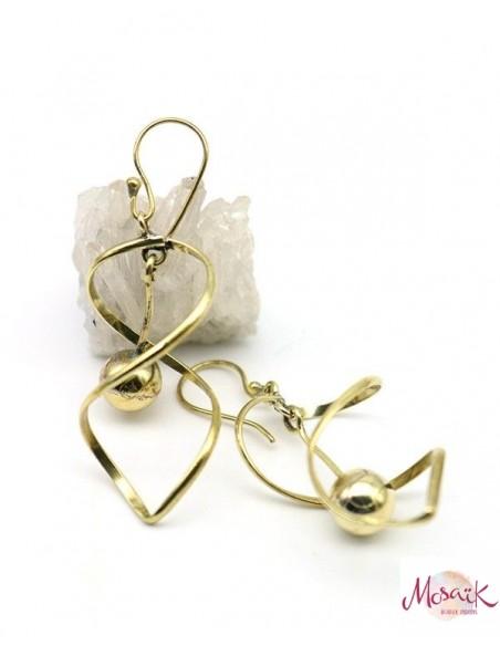 Boucles d'oreilles dorées torsadées - Mosaik bijoux indiens