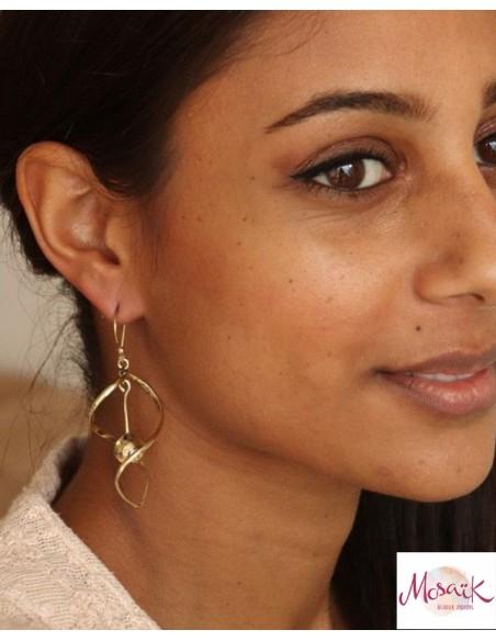Boucles d'oreilles dorées en laiton - Mosaik bijoux indiens
