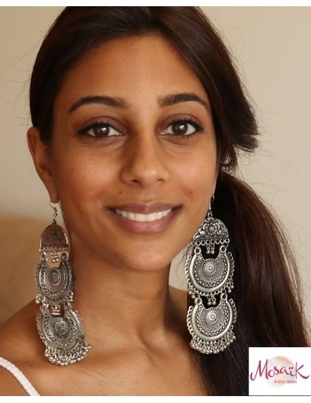 Grosses boucles d'oreilles ethniques - Mosaik bijoux indiens