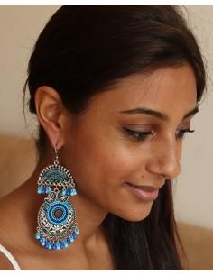 Boucles d'oreilles ethniques bleues grelots - Mosaik bijoux indiens 2