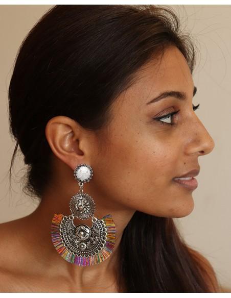 large boucle d'oreille ethnique à franges - Mosaik bijoux indiens