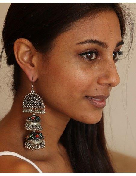 Boucle d'oreille indienne à grelots - Mosaik bijoux indiens