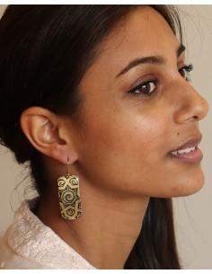 Boucles d'oreilles fantaisie dessinées noires et dorées -Mosaik bijoux indiens 2