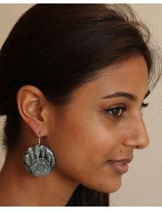 Boucles d'oreilles noires et banches - Mosaik bijoux indiens 2