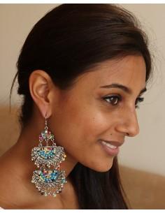 boucle d'oreille longue et ethnique - Mosaik bijoux indiens 2
