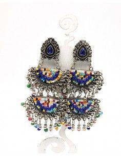 longue boucle d'oreille à étages - Mosaik bijoux indiens