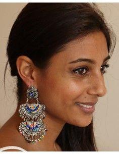 longue boucle d'oreille à étages - Mosaik bijoux indiens 2