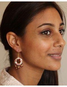 Boucles d'oreilles fantaisie rouge - Mosaik bijoux indiens 2