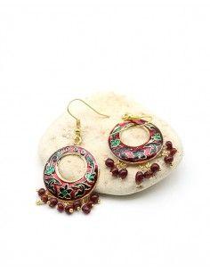 Boucles d'oreilles fantaisie rouge - Mosaik bijoux indiens