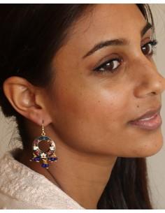 Boucles d'oreilles bleues à grelots - Mosaik bijoux indiens 2
