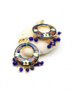 Boucles d'oreilles bleues à grelots - Mosaik bijoux indiens