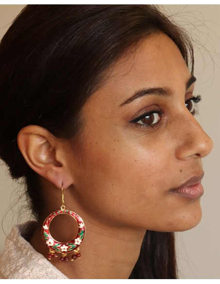 Boucles d'oreilles fantaisies rouges et vertes - Mosaik bijoux indiens