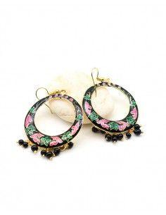 Boucles d'oreilles indiennes à pampilles - Mosaik bijoux indiens