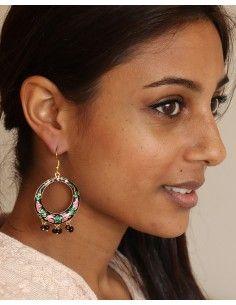 Boucles d'oreilles indiennes à pampilles - Mosaik bijoux indiens 2
