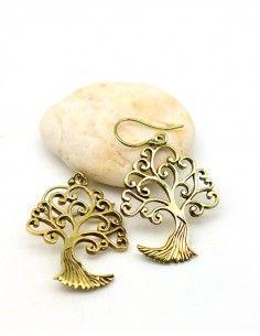 Boucles d'oreilles dorées arbre - Mosaik bijoux indiens