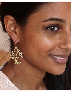 Boucles d'oreilles dorées arbre - Mosaik bijoux indiens 2