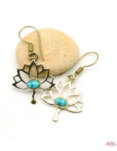 Boucles d'oreilles lotus dorées - Mosaik bijoux indiens