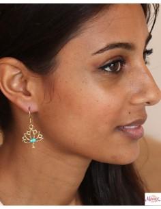 Boucles d'oreilles lotus dorées - Mosaik bijoux indiens 2