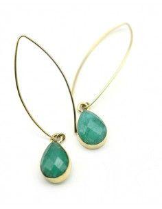 Boucle pendantes dorées et pierre verte - Mosaik bijoux indiens