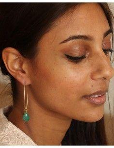 Boucle pendantes dorées et pierre verte - Mosaik bijoux indiens 2