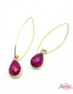 Boucles pendantes fines dorées pierre rose - Mosaik bijoux indiens