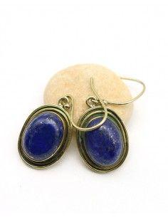 Boucles d'oreilles dorées pierre bleue - Mosaik bijoux indiens