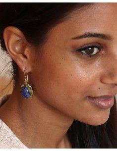 Boucles d'oreilles dorées pierre bleue - Mosaik bijoux indiens 2