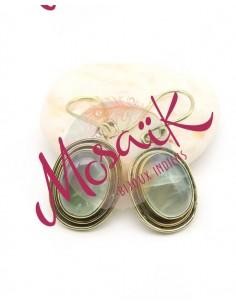 Boucles d'oreilles dorées pierre verte - Mosaik bijoux indiens