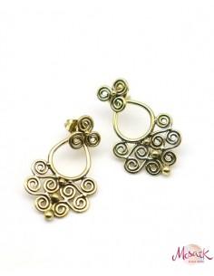 Clou d'oreille doré travaillé  -Mosaik bijoux indiens