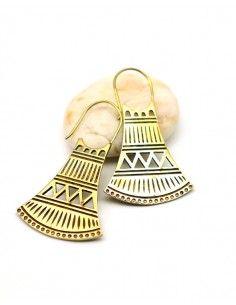 Boucles d'oreilles dorées ciselées - Mosaik bijoux indiens