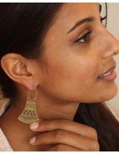 Boucles d'oreilles dorées ciselées - Mosaik bijoux indiens 2