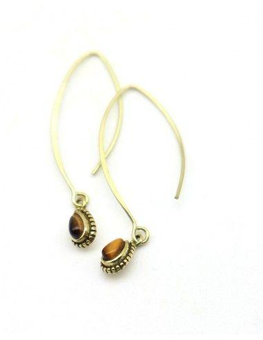 Boucles d'oreilles laiton et pierre marron - Mosaik bijoux indiens