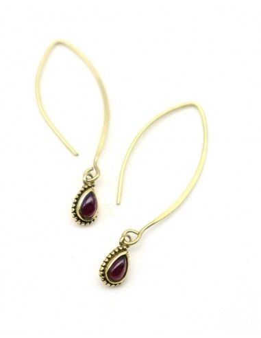 Boucles pendantes pierre rouge - Mosaik bijoux indiens