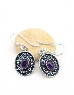Boucle d'oreille indienne et pierre violette - Mosaik bijoux indiens