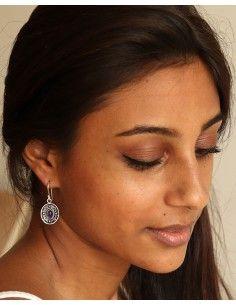 Boucle d'oreille indienne et pierre violette - Mosaik bijoux indiens 2