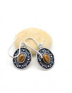 Boucle d'oreille ethnique et oeil de tigre - Mosaik bijoux indiens