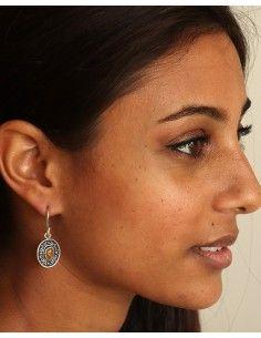 Boucle d'oreille ethnique et oeil de tigre - Mosaik bijoux indiens 2