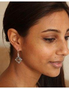 Boucle d'oreille oeil de tigre - Mosaik bijoux indiens 2