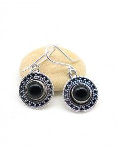 Boucle d'oreille pierre noire - Mosaik bijoux indiens