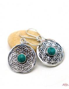 Boucle d'oreille fleur de vie et turquoise - Mosaik bijoux indiens