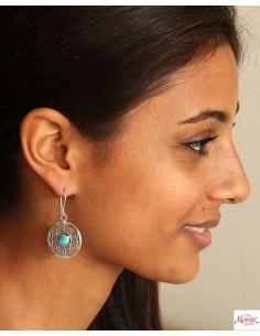 Boucle d'oreille fleur de vie et turquoise - Mosaik bijoux indiens 2