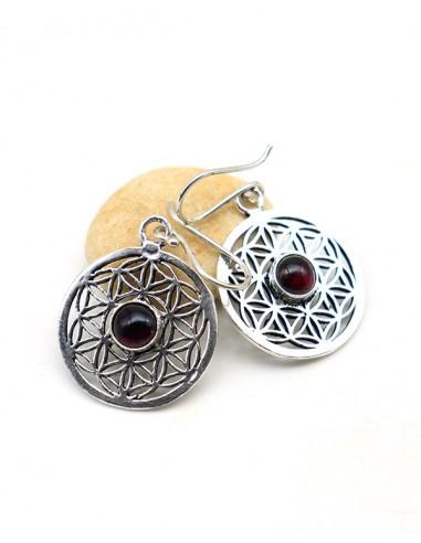 Boucle d'oreille Fleur de vie et pierre rouge - Mosaik bijoux indiens