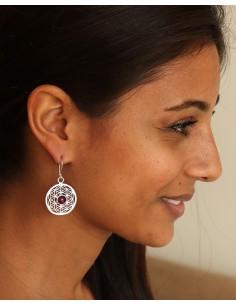 Boucle d'oreille Fleur de vie et pierre rouge - Mosaik bijoux indiens 2