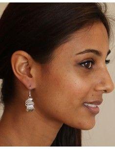 Boucle d'oreille vague argentée - Mosaik bijoux indiens 2
