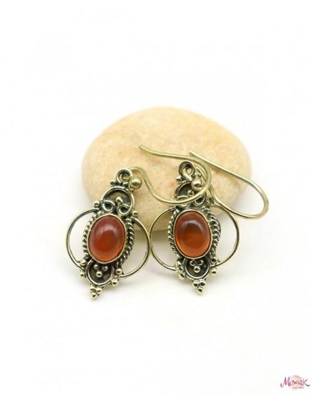 Boucles d'oreille cornaline dorées - Mosaik bijoux indiens