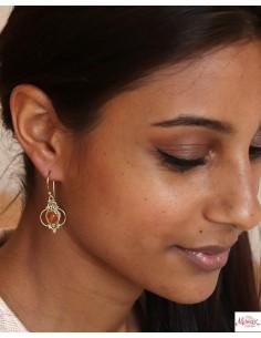 Boucles d'oreille cornaline dorées - Mosaik bijoux indiens 2